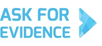 """Ask for evidence logo which links to blog on S4BE website """"Stand up for science and Ask for Evidence"""""""