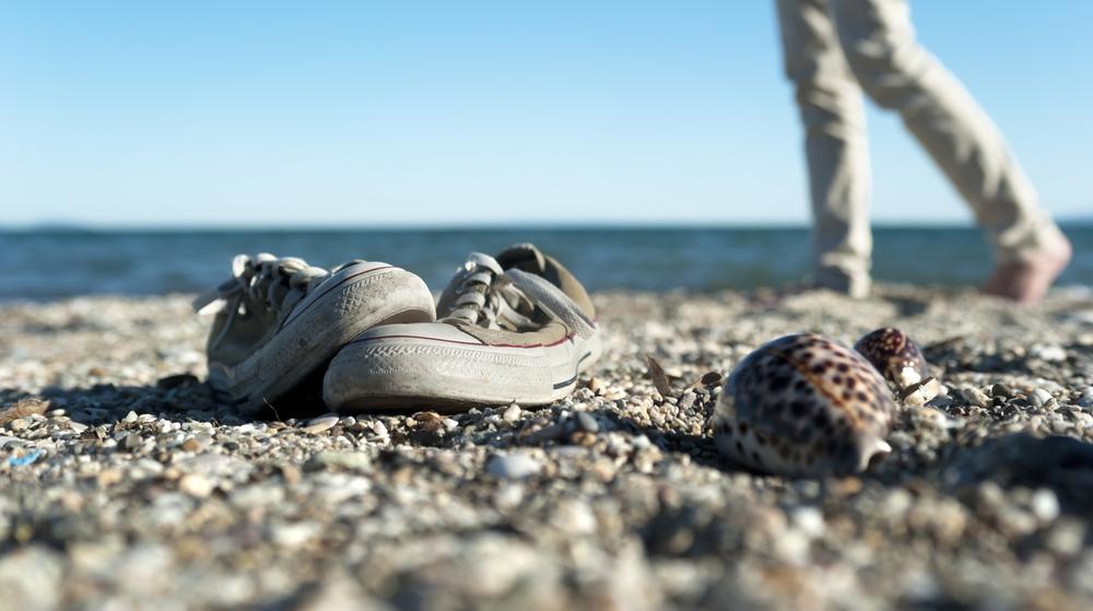 walking on a beach