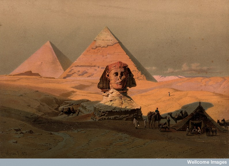 Egypt: the pyramids at Giza and the Sphinx.  Credit: Wellcome Library, London. Wellcome Images