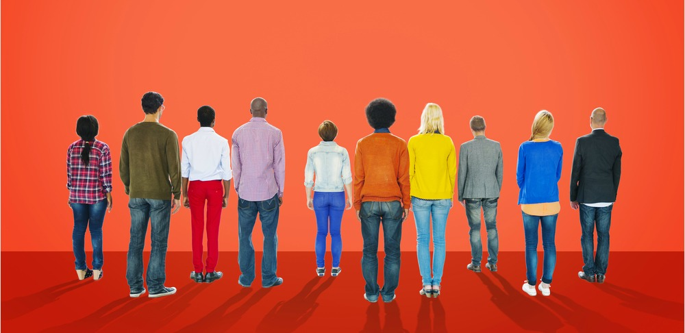 group of people against red background