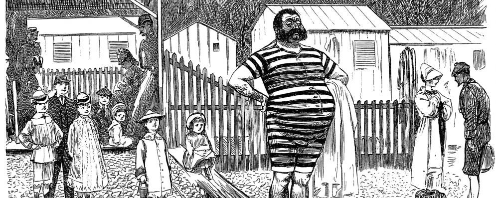 Cartoon man in vintage swimsuit