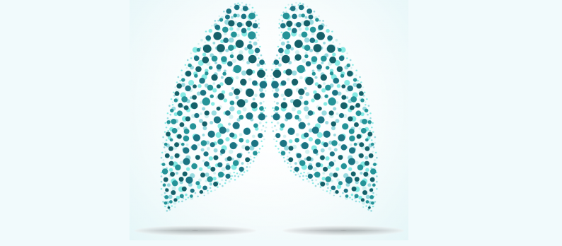 Depiction of lungs in green dots