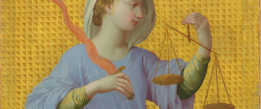 Painting of woman holding scales of justice