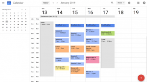 Calendar screenshot showing sessions attended at the conference
