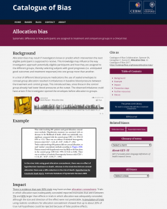 Screenshot of allocation bias from the Catalogue of Bias website.