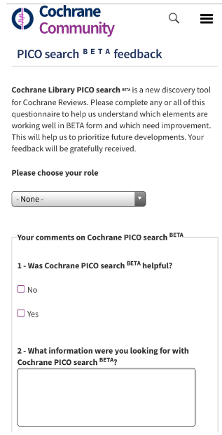 Example of the first page of the PICO search BETA feedback form