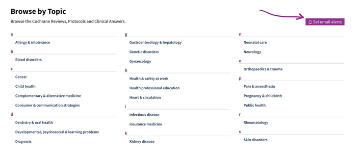 Screenshot of where to click to set up email alerts on the Cochrane Library.