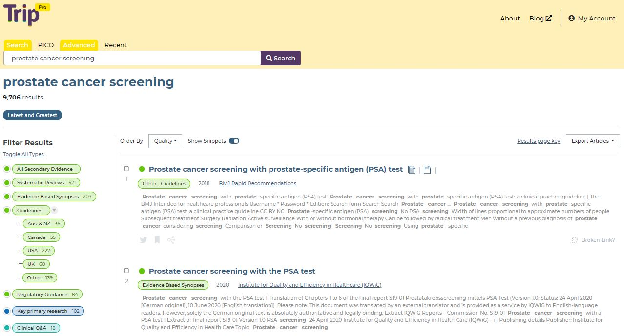 Image of a search result shown in this image. The search carried out was 'Prostate cancer Screening'. There are 2 results shown on this page, with a list of categories on the left hand side showing how you could filter your results. The categories shown in the menu are: all secondary evidence, systematic reviews, evidence based synopses, guidelines (which is further filtered by countries), primary research and clinical Q&A